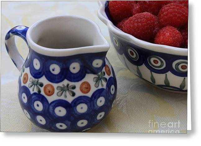 Still Life With Pitcher Greeting Cards - Raspberries with Cream Greeting Card by Carol Groenen