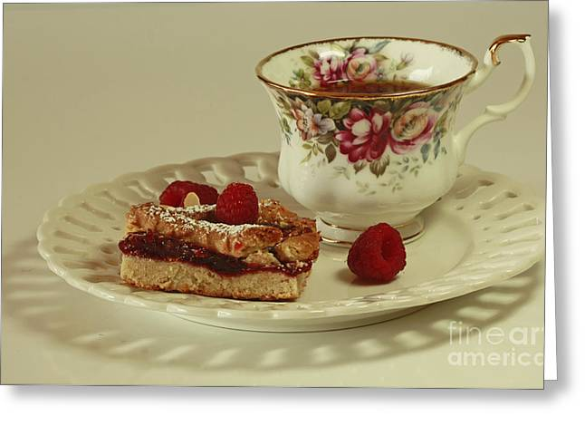 Raspberry Almond Square And Herbal Tea  Greeting Card by Inspired Nature Photography Fine Art Photography