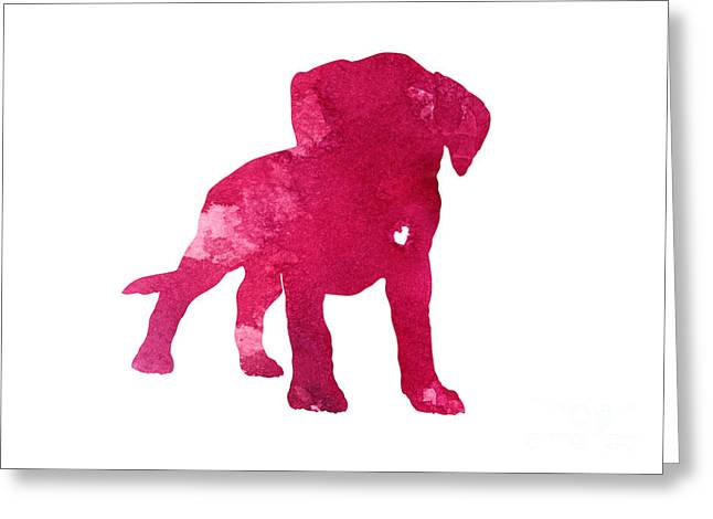 Boxer Abstract Art Greeting Cards - Raspberry boxer puppy silhouette Greeting Card by Joanna Szmerdt