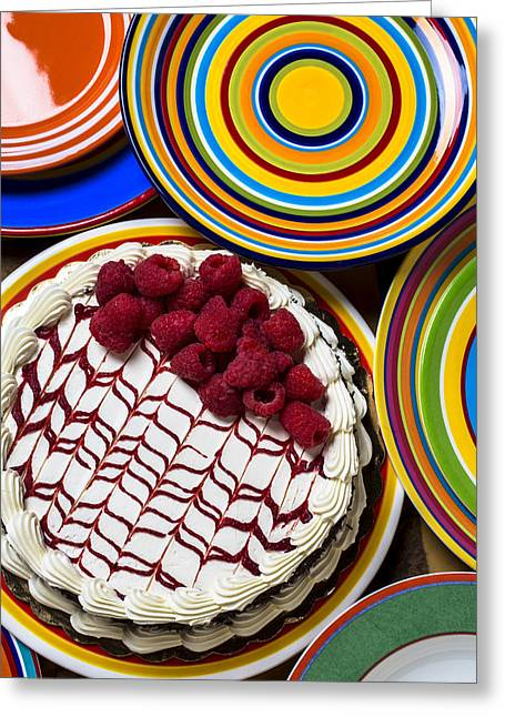 Circular Circle Circles Greeting Cards - Raspberry cake Greeting Card by Garry Gay