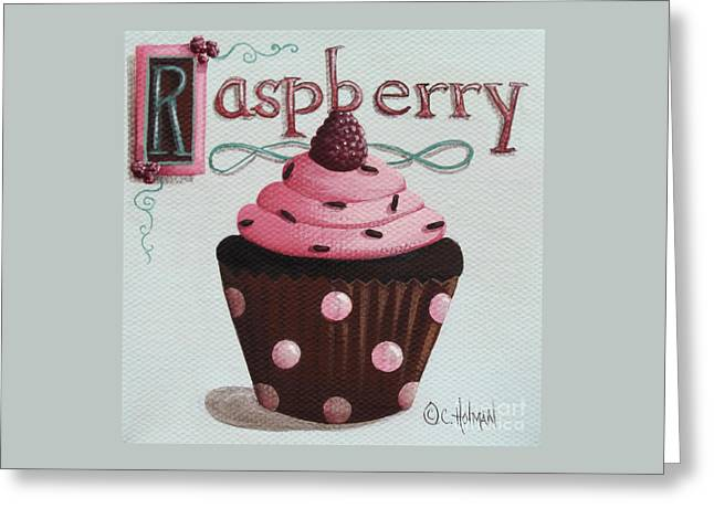 Catherine Holman Greeting Cards - Raspberry Chocolate Cupcake Greeting Card by Catherine Holman