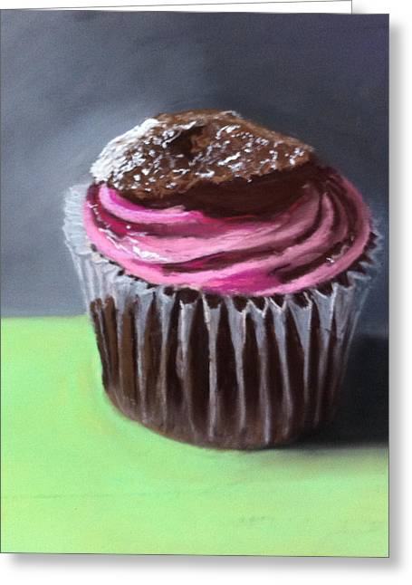 Cupcakes Greeting Cards - Raspberry Crisp Cupcake Greeting Card by Cristine Kossow