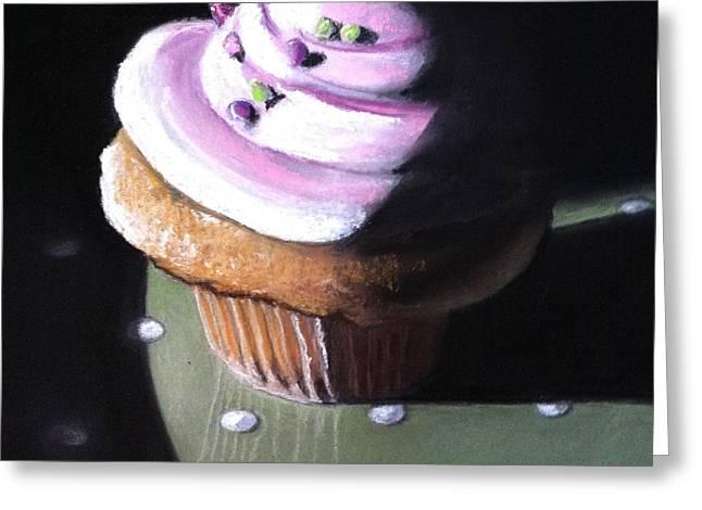 Raspberry Paintings Greeting Cards - Raspberry Cupcake Greeting Card by Cristine Kossow