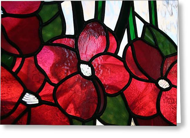 Green Leafs Glass Art Greeting Cards - Raspberry Flowers Greeting Card by Marsha Painter