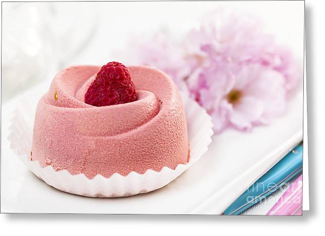 Red Berries Greeting Cards - Raspberry mousse dessert Greeting Card by Elena Elisseeva