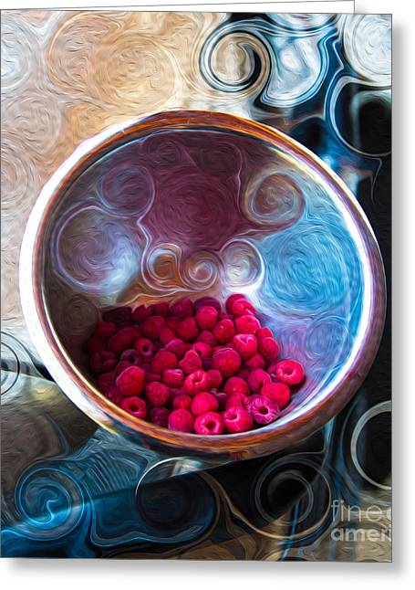 Raspberry Reflections Greeting Card by Omaste Witkowski