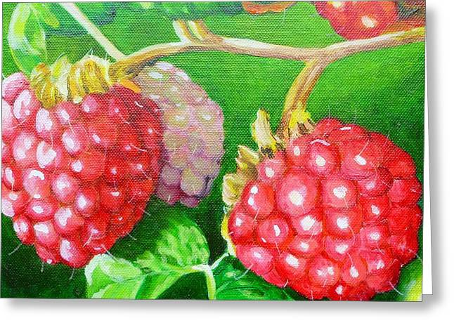 Raspberry Ripening Greeting Card by Lorraine Fenlon