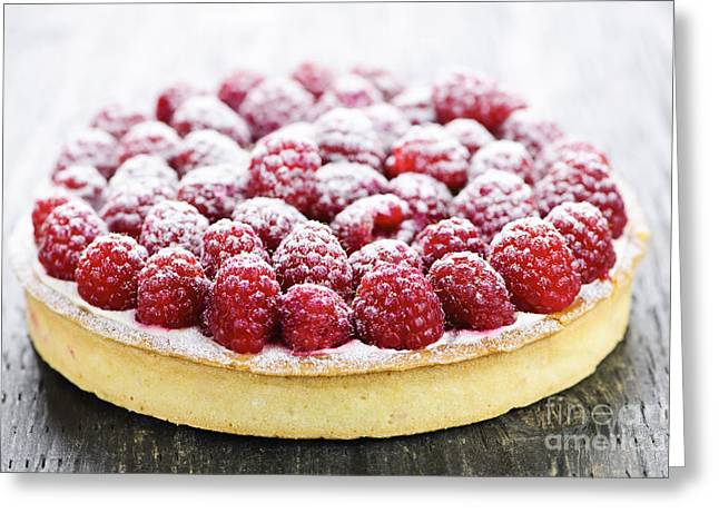 Uncut Greeting Cards - Raspberry tart Greeting Card by Elena Elisseeva