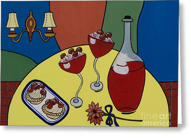 Dessert For Two Greeting Cards - Raspberry Wine Greeting Card by Barbara McMahon