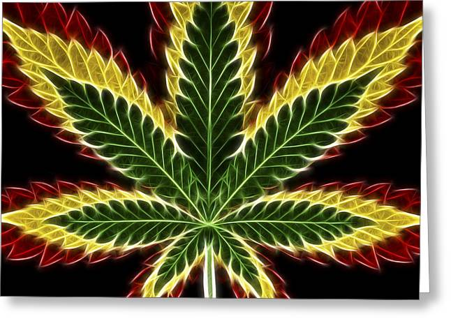 Trippy Greeting Cards - Rasta Marijuana Greeting Card by Adam Romanowicz