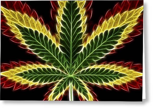 Joint Greeting Cards - Rasta Marijuana Greeting Card by Adam Romanowicz