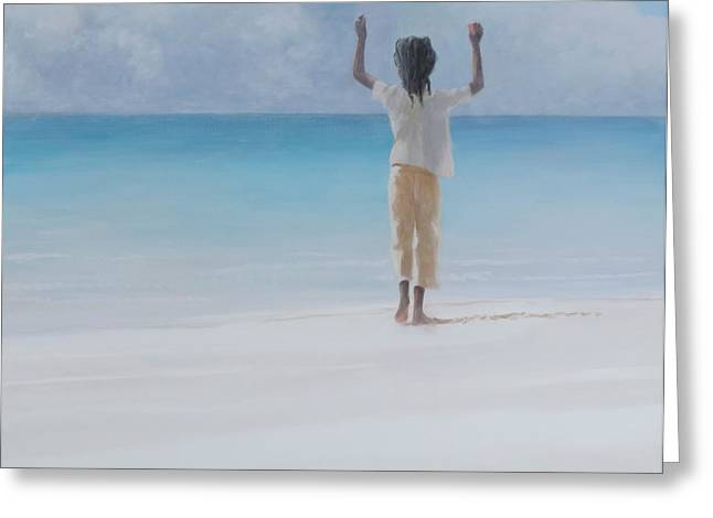 Rasta Greeting Cards - Rasta On Beach, 2012 Acrylic On Canvas Greeting Card by Lincoln Seligman