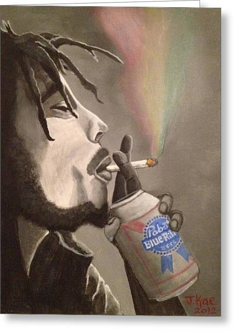 Pbr Greeting Cards - Rasta Pabst Greeting Card by J Kae
