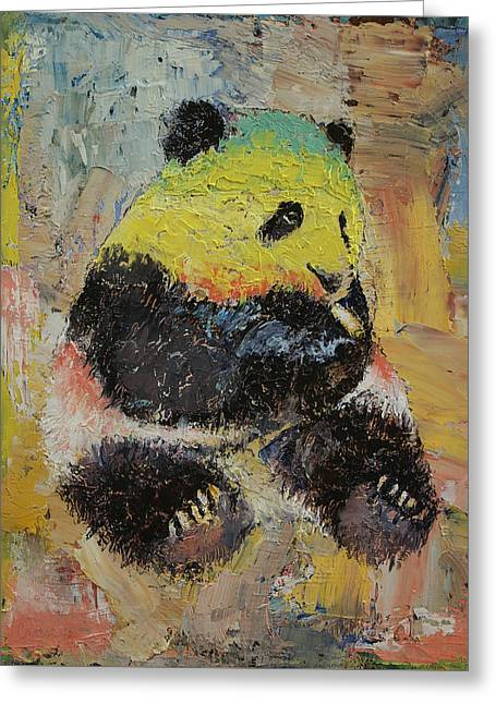 Rasta Panda Greeting Card by Michael Creese