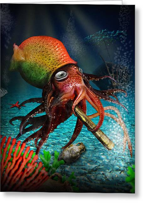 Pirate Ships Greeting Cards - Rasta Squid Greeting Card by Alessandro Della Pietra