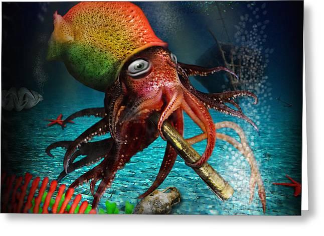 Algae Greeting Cards - Rasta Squid Greeting Card by Alessandro Della Pietra