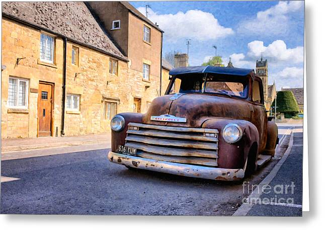 Chevrolet 3100 Greeting Cards - Rat Chevy 3100 Pickup Greeting Card by Tim Gainey