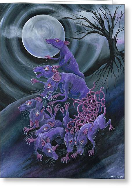 Nocturnal Greeting Cards - Rat King Greeting Card by Heather Bradley