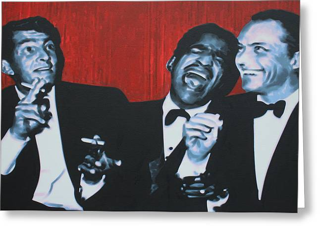 Junior Greeting Cards - Rat Pack Greeting Card by Luis Ludzska