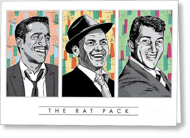 Showgirl Greeting Cards - Rat Pack Pop Art Greeting Card by Jim Zahniser
