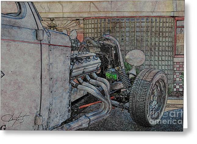Pen And Ink Drawing Photographs Greeting Cards - Rat Rod Illustration  Greeting Card by Dave Koontz