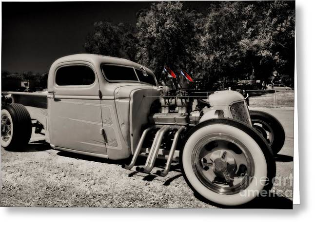 Greaserama Greeting Cards - Rat Rod Greeting Card by Liane Wright