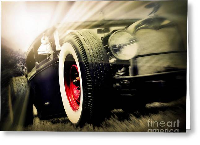 Rockabilly Digital Art Greeting Cards - Rat Rod Morning Greeting Card by Perry Webster