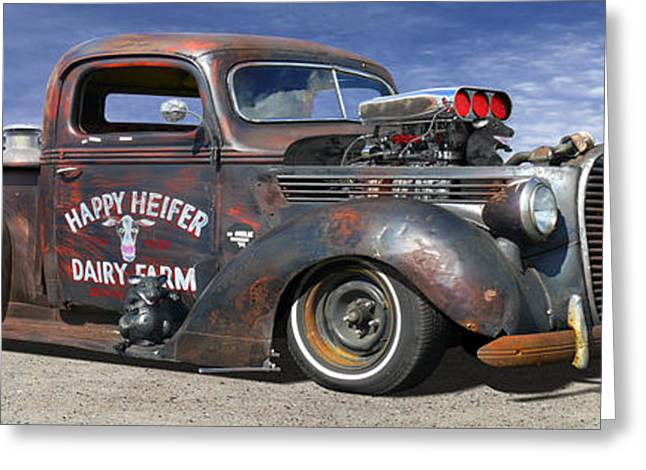 Lowrider Greeting Cards - Rat Rod on Route 66 3 Greeting Card by Mike McGlothlen