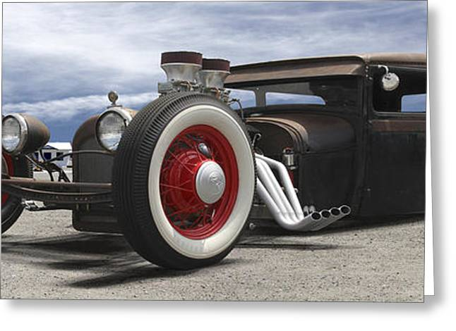 Lowrider Greeting Cards - Rat Rod on Route 66 Panoramic Greeting Card by Mike McGlothlen