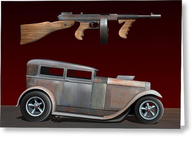 Hot Gun Greeting Cards - Rat Rod Sedan IV Greeting Card by Stuart Swartz