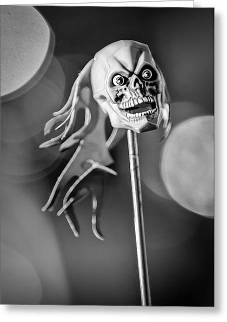 Rat Rod Skull Antenna Ornament Greeting Card by Jill Reger