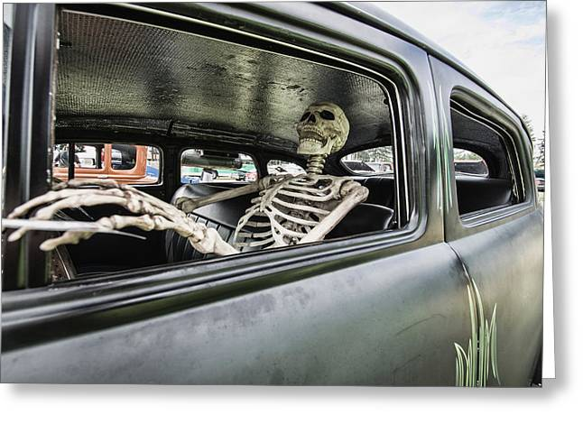Ron Roberts Photography Greeting Cards - Rat Rod With Skelton Greeting Card by Ron Roberts