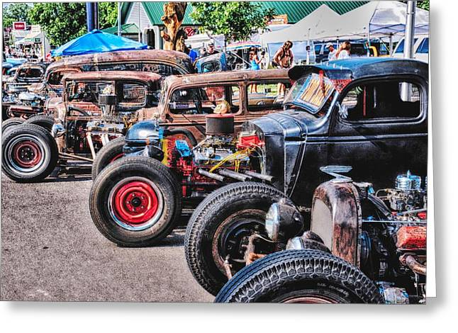 Workshop Emblem Greeting Cards - Rat Rods Greeting Card by Todd and candice Dailey