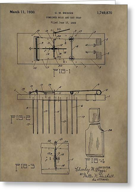 Controlled Mixed Media Greeting Cards - Rat Trap Patent Greeting Card by Dan Sproul