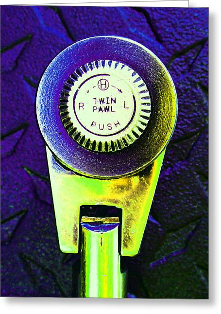 Decorator Set Greeting Cards - Ratchet Dial E Greeting Card by Laurie Tsemak
