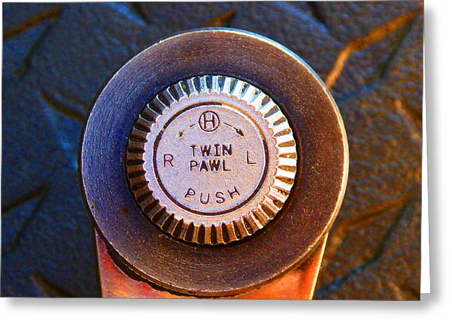 Decorator Set Greeting Cards - Ratchet Dial F Greeting Card by Laurie Tsemak