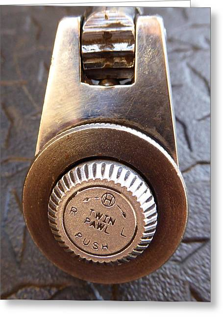 Decorator Set Greeting Cards - Ratchet Dial G Greeting Card by Laurie Tsemak