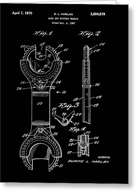 Mechanics Mixed Media Greeting Cards - Ratchet Wrench Patent Greeting Card by Dan Sproul