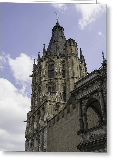 Self Confidence Greeting Cards - Rathaus Tower and Loggia Cologne Germany Greeting Card by Teresa Mucha