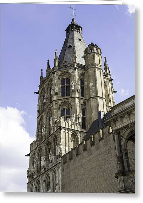 Self Confidence Greeting Cards - Rathaus Tower Cologne Germany Greeting Card by Teresa Mucha