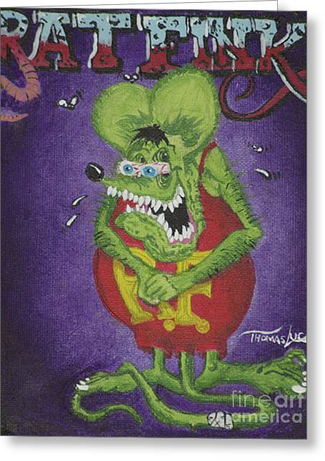 Rat Fink Greeting Cards - Raticus Finkiest Greeting Card by Thomas Luca