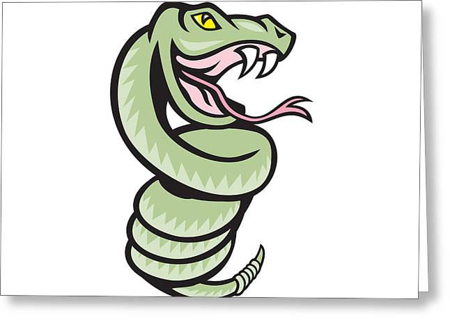Rattle Snake Greeting Cards - Rattle Snake Coiling Up Cartoon Greeting Card by Aloysius Patrimonio