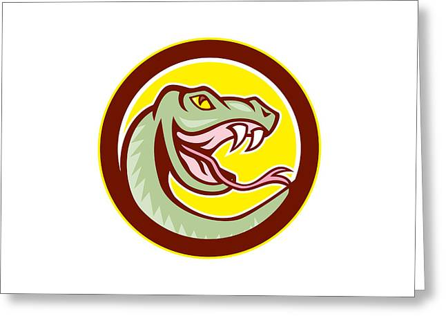 Rattle Snake Greeting Cards - Rattle Snake Head Circle Cartoon Greeting Card by Aloysius Patrimonio