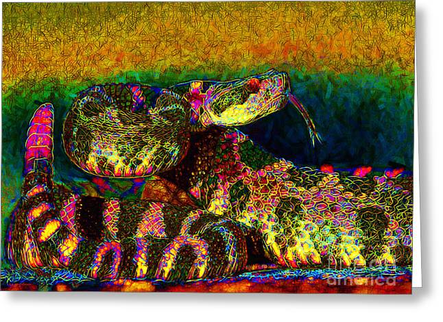 Rattlesnake 20130204p0 Greeting Card by Wingsdomain Art and Photography