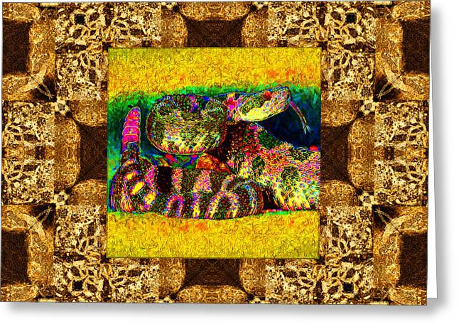 Medusa Digital Greeting Cards - Rattlesnake Abstract Window 20130204p0 Greeting Card by Wingsdomain Art and Photography