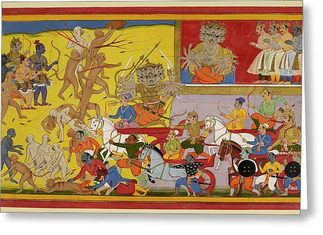 Ravana Sets Out To Battle Greeting Card by British Library