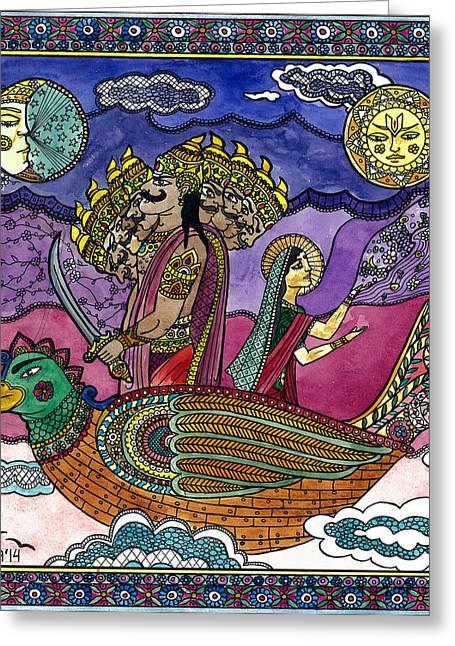 Ravana Stealing Sita Greeting Card by Jekaterina Mudivarthi