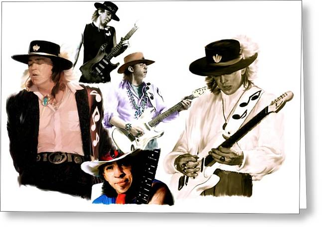 Iconic Guitar Greeting Cards - RAVE ON  Stevie Ray Vaughan Greeting Card by Iconic Images Art Gallery David Pucciarelli