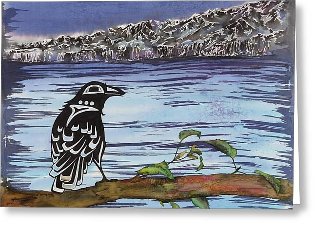 Blue Tapestries - Textiles Greeting Cards - Raven and Ice Greeting Card by Carolyn Doe