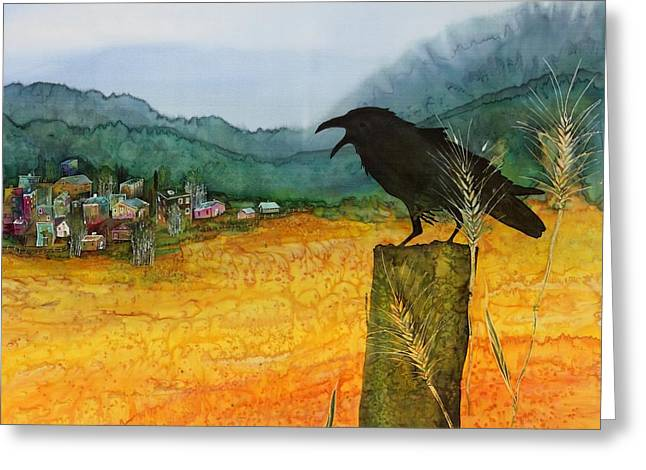 Golds Tapestries - Textiles Greeting Cards - Raven and the Village 2 Greeting Card by Carolyn Doe